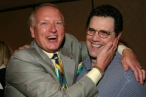 A Happy Mark Victor Hansen hugging Tom after Tom Wow'd the crowd AGAIN at one of Mark's Mega Seminar Events.